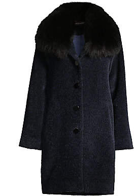 Sofia Cashmere Women's Fox Fur-Trim Wool & Alpaca Boucle-Blend Coat