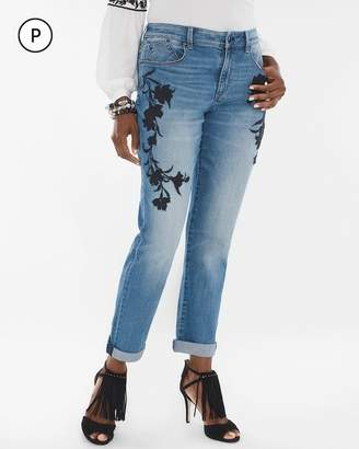 Petite Floral Embroidered Boyfriend Ankle Jeans