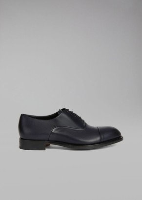 Giorgio Armani Smooth Leather Oxford Shoe With Decorative Stitching
