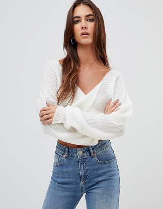 Missguided fluffy twist front cropped sweater