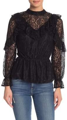 FAVLUX Long Sleeve Lace Ruffle Blouse