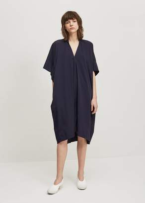 Y's Twill Mini Collar Flare Dress Navy
