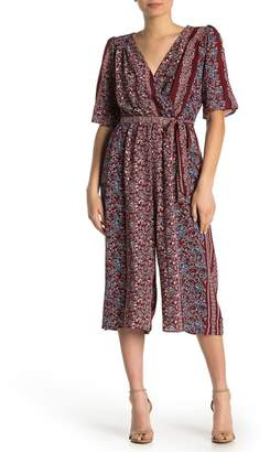 Just For Wraps Printed Surplice Jumpsuit