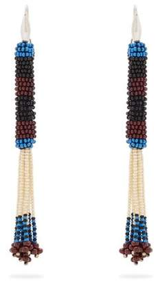 Isabel Marant Bead Embellished Tassel Drop Earrings - Womens - Blue