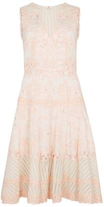 Jonathan Simkhai Peach Embroidered Cotton Dress
