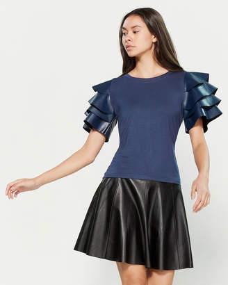 Gracia Contrast Layer Ruffle Short Sleeve Blouse