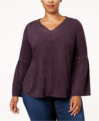 Style&Co. Style & Co Plus Size Embellished Faux-Suede Blouse, Created for Macy's