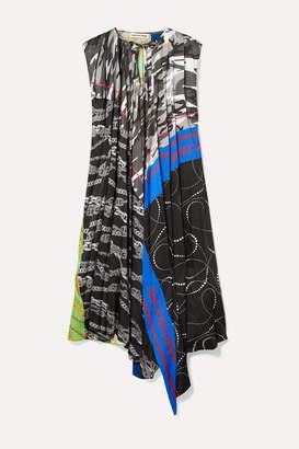 Balenciaga Asymmetric Paneled Printed Twill Dress - Blue