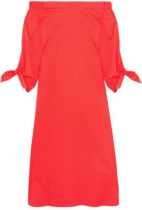 Tibi - Off-the-shoulder Cotton-poplin Midi Dress - Red $450 thestylecure.com