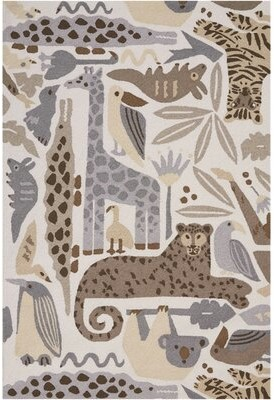 Harriet Bee Crew Park Hand-Hooked Gray/Beige Area Rug Harriet Bee