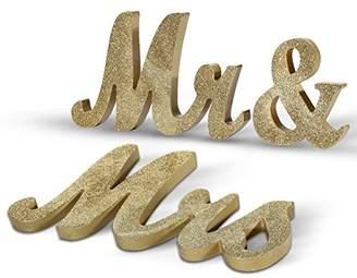 Haperlare Vintage Style Mr Mrs Sign Mr & Mrs Wooden Letters Wedding Sign Gold Glitter Letters Gold Mr Mrs Sign Wedding Table