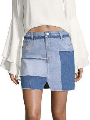 KENDALL + KYLIE Patchwork Denim Pencil Skirt