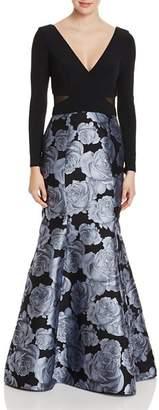 Avery G Floral Mermaid-Skirt Gown