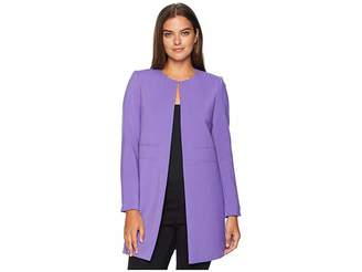 Tahari ASL Round Neck Open Topper with Seam Detailing Women's Coat