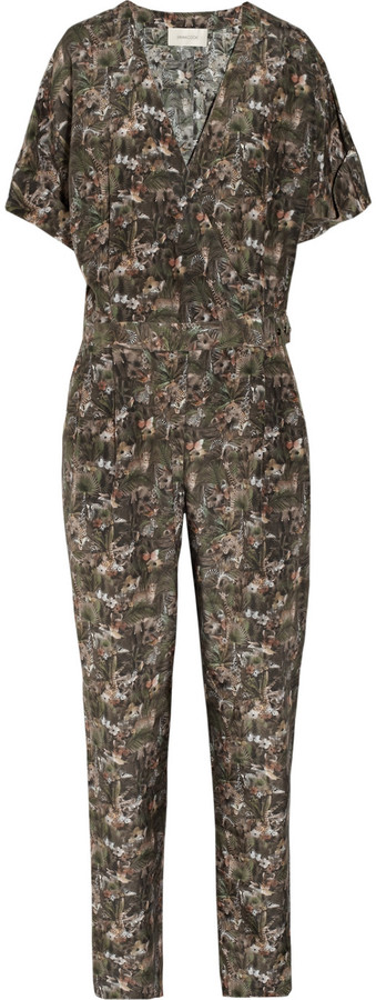 Emma Cook Mini Jungle printed silk and cotton-blend jumpsuit