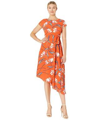 Donna Morgan Cap Sleeve Asymmetrical Hem Crepe Dress