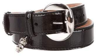 Alexander McQueen Skull-Accented Patent Leather Embellished Belt
