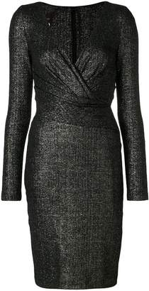 Talbot Runhof fitted v-neck dress
