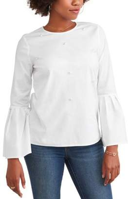 Time and Tru Women's Pearl Front Top