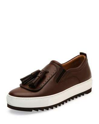 Salvatore Ferragamo Lucca Leather Sneaker with Oversized Tassels on Archival Sawtooth Sole, Brown $595 thestylecure.com