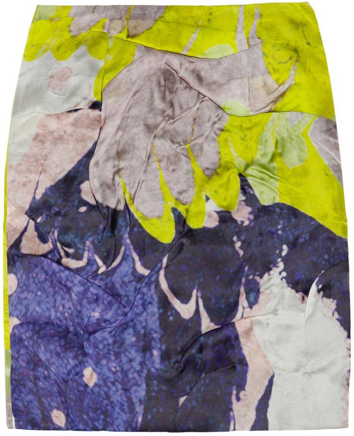 Michael Van Der Ham Folded printed silk-organza mini skirt