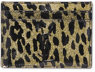 Saint Laurent Glittered Leopard-print Pvc Cardholder - Leopard print