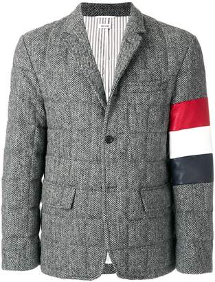 Thom Browne Downfilled Sport Coat With Red, White And Blue Armband Stripe In Herringbone Harris Tweed