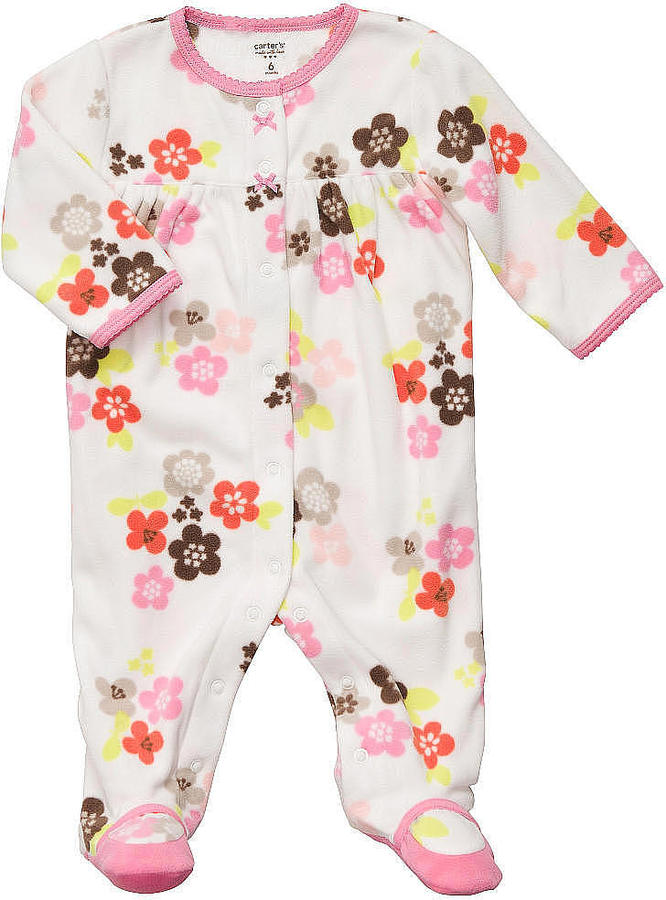 Carter's Girls Floral Printed Fleece Sleep 'N Play - Ivy