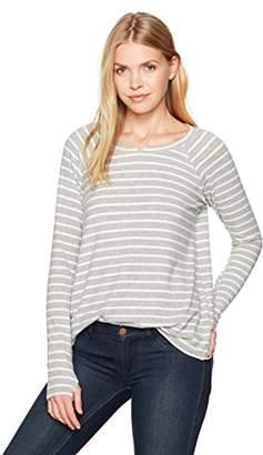 Michael Stars Women's Madison Brushed Stripe Long Sleeve Notch Neck Hi-Low Top