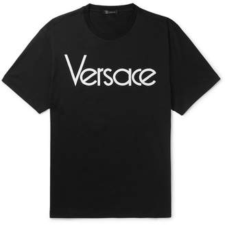 Versace Logo-Embroidered Cotton-Jersey T-Shirt - Black