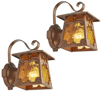 Rejuvenation Pair of Arts & Crafts Entry Lanterns w/ Amber Glass