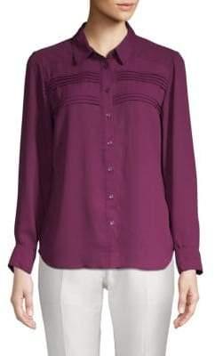 Pleated Chiffon Button-Down Shirt