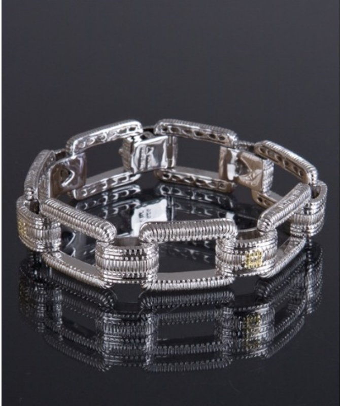 Judith Ripka sterling silver and diamond ridged rectangle link bracelet
