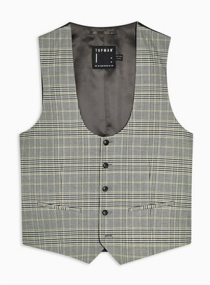 Topman Mens Grey Stone Check Skinny Fit Suit Waistcoat