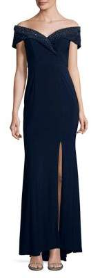 Xscape Evenings Beaded Off-the-Shoulder Gown