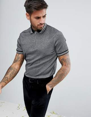 Asos Design Polo Shirt In Silver Metallic Fabric With Silver Tipping And Ring Pull