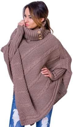 WozWoz Clothing WozWoz Women's Polo Neck Knit Poncho Cape Sweater with Sleeves