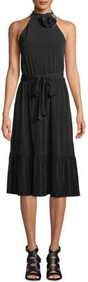 MICHAEL Michael Kors Halter-Neck Matte Jersey Midi Dress