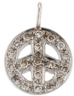 Sydney Evan 14K Diamond Peace Sign Pendant