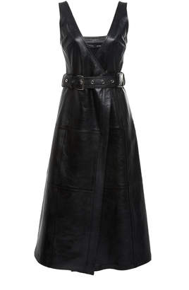 Proenza Schouler Belted A-Line Leather Midi Dress