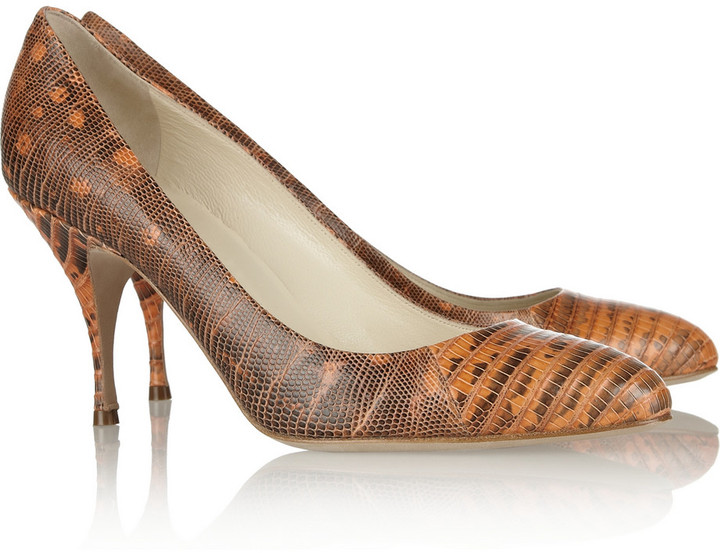 Brian Atwood Starlet lizard-effect leather pumps