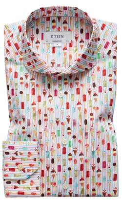 Eton Contemporary Fit Print Dress Shirt