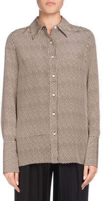 Proenza Schouler Long-Sleeve Button-Down Dot-Print Silk Shirt