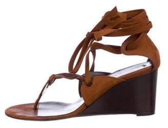 Balenciaga Suede Wrap-Tie Wedge Sandals
