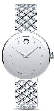 Movado Sapphire Diamond Silver-Tone Watch, 30mm