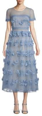 Marchesa Floral Tea-Length Lace Dress