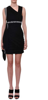 ca0d118d1e0318 Versace Sleeveless Logo-Waistband Viscose Mini Dress