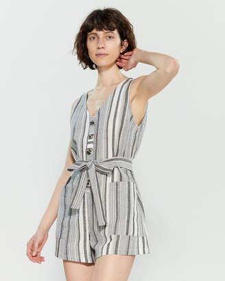 67acef84399 Lush Striped Tie Waist Romper
