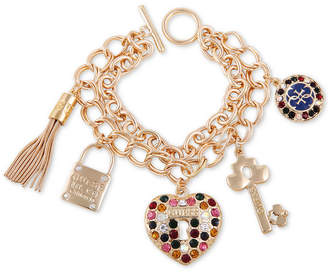 GUESS Gold-Tone Multicolor Crystal Double-Row Charm Bracelet