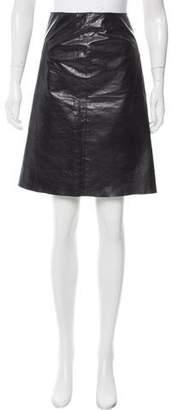 Vivienne Tam Embellished Leather Skirt